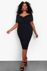 Black Wrapped Shoulder Bodycon Midi Dress