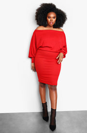 "Rebdolls ""Tis The Season"" Over The Shoulder Long Sleeve Mini Dress - Red"