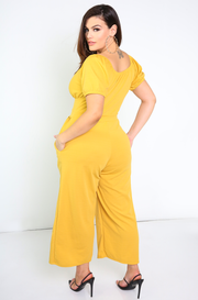 Mustard Wide Leg Jumper With Pockets Plus Sizes