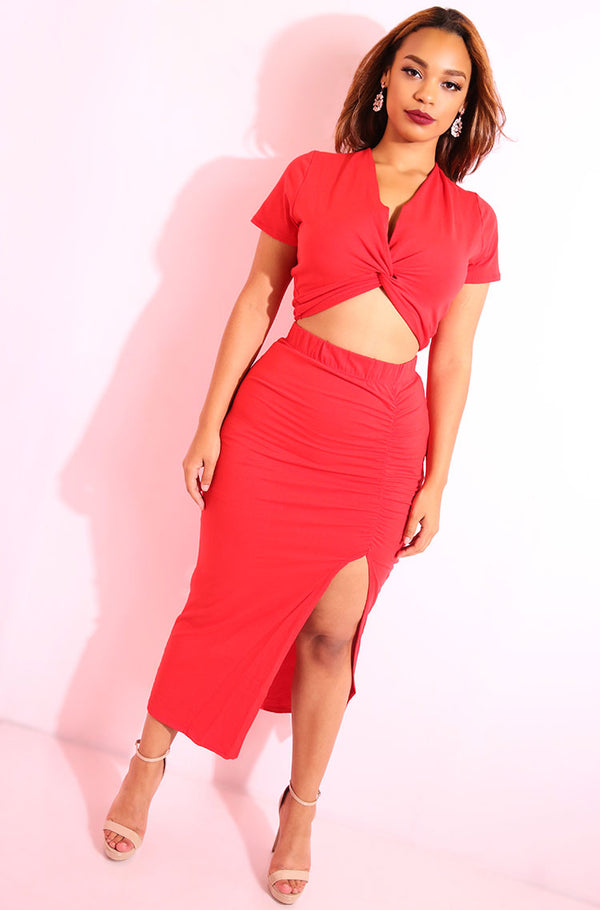 Red High Slit Bodycon Midi Skirt plus sizes