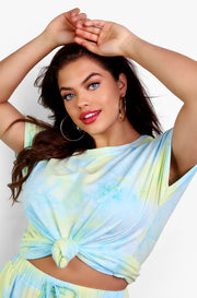 Light Blue Tie Dye Tee Plus Sizes