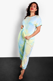 Light Blue Tie Dye Drawstring Joggers Plus Sizes