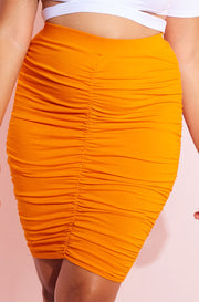 Orange Ruched Bodycon Mini Skirt Plus Sizes