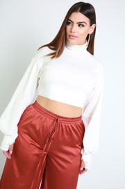 Bone White Oversized Turtleneck Thumbhole Cropped Sweater Plus Sizes