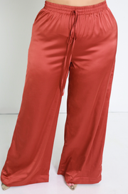 Persian Red Satin Wide Leg Pants Plus Sizes