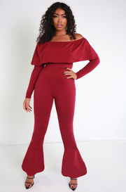 Burgundy Bell Bottom Leggings Plus Sizes