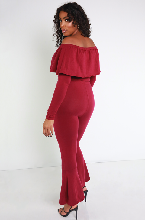 Burgundy Ruffled Crop Top Plus Sizes