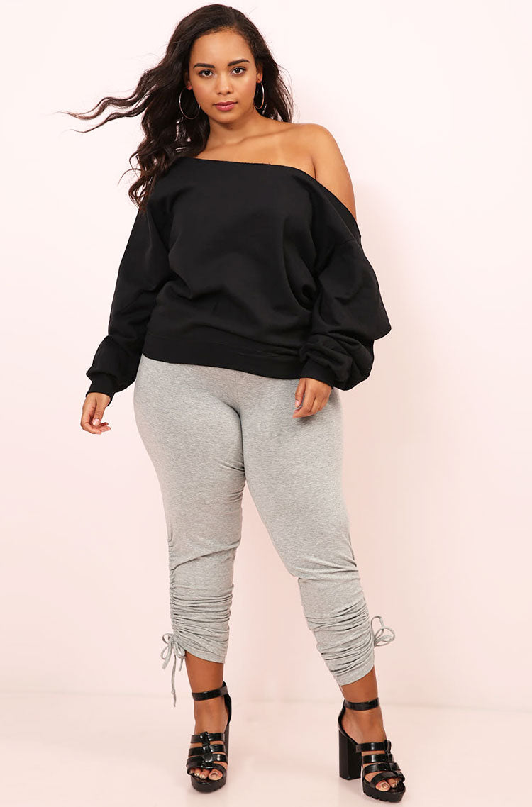 Black Over The Shoulder Raw-Cut Sweatshirt plus sizes