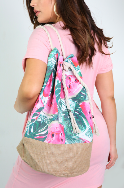 Green Watermelon Print Beach Back Pack