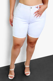 Mid Rise White Jean Shorts Plus Sizes