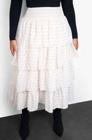 White Layered Ruffle Smocked Maxi Skirt Plus Sizes