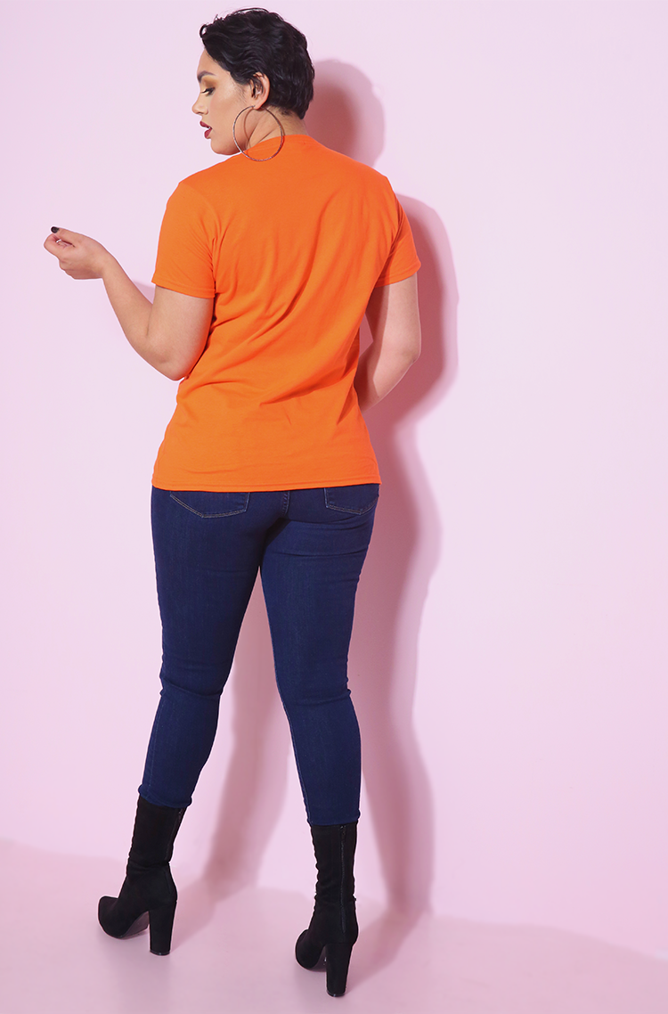 top ranking short sleeve orange crew neck tshirt plus sizes