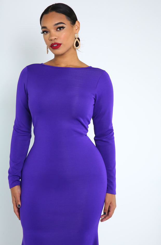Purple Bodycon Mermaid Gown Plus Sizes