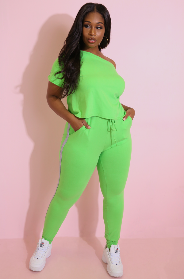 Lime Green Striped Jogger Pants Plus Sizes