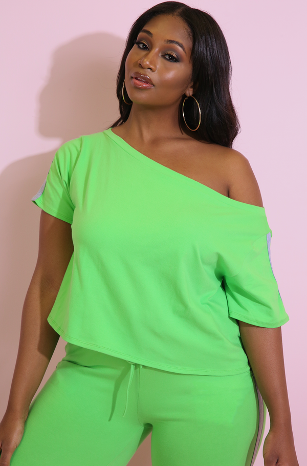 Lime Green Striped Over The Shoulder Crop Top Plus Sizes