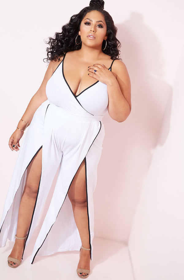 White High Slit Jumpsuit plus sizes