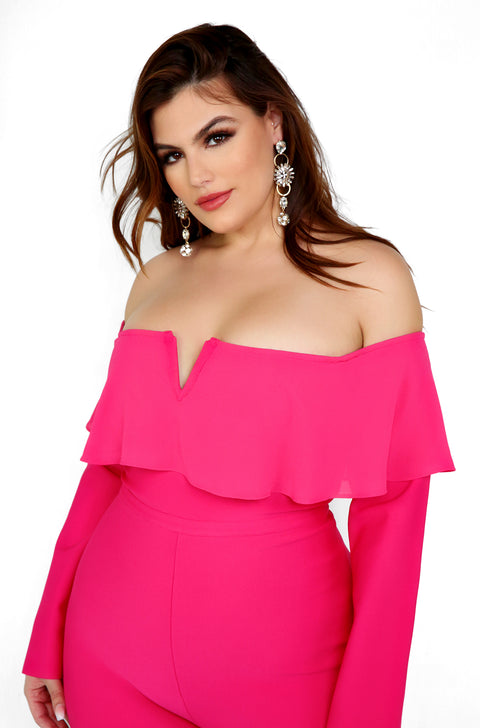 Fuchsia Over The Shoulder Long Sleeve Bandage Jumpsuit Plus SIzes