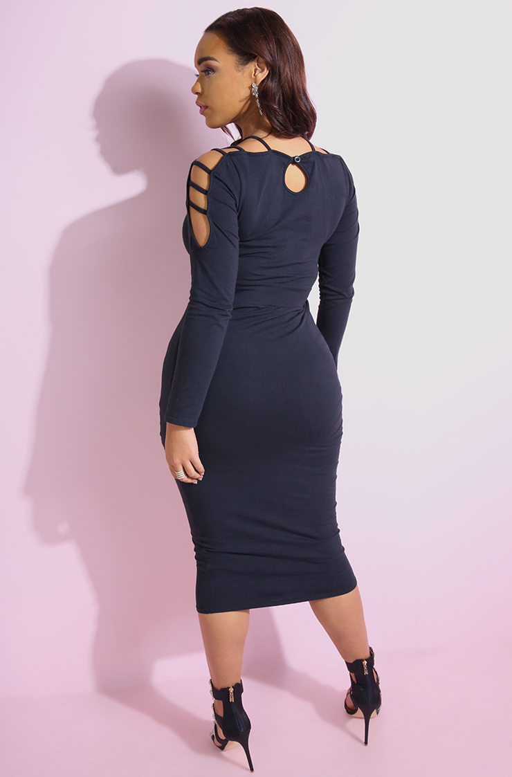 Black Caged Bodycon Midi dress plus sizes