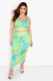 Turquoise Tie Dye Maxi Skirt Plus Sizes