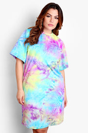 Purple Oversized Tie Dye T-Shirt Dress Plus Sizes