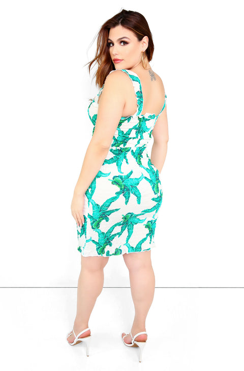 Green Smocked Bodycon Mini Dress Plus Size