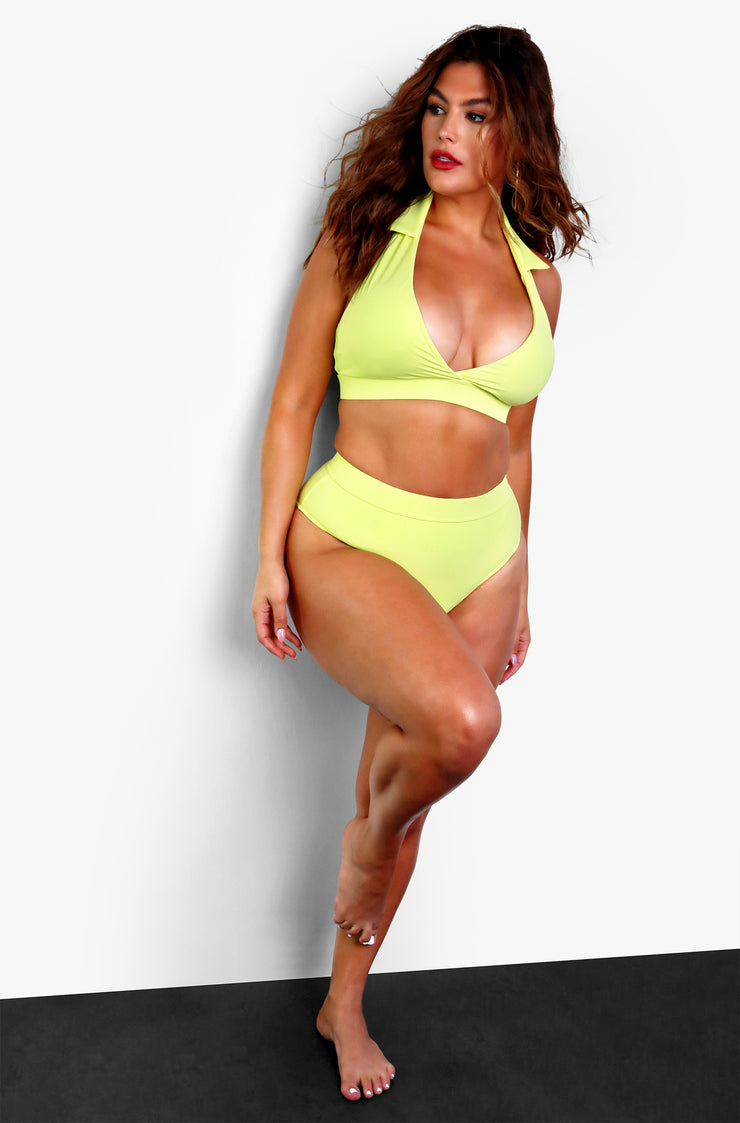 Green High Waisted Bikini Bottoms Plus Sizes