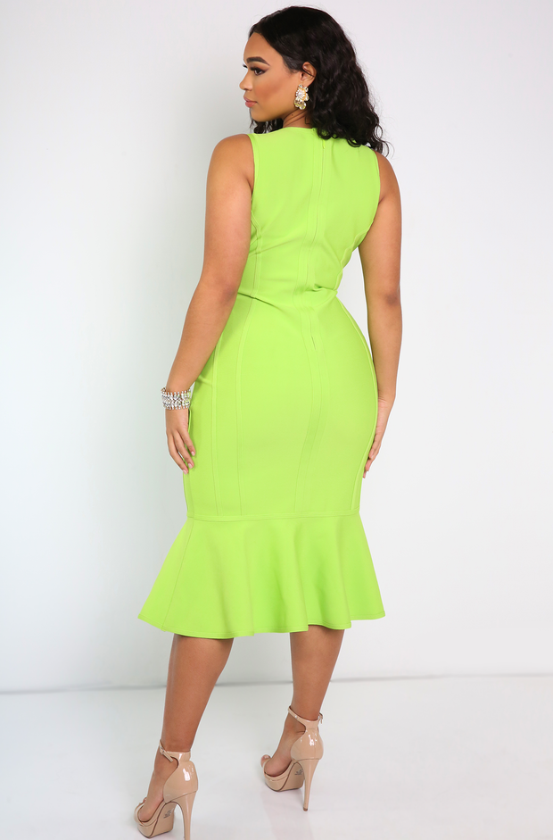 Lime Green Ruffled Hem Bandage Midi Dress Plus Sizes