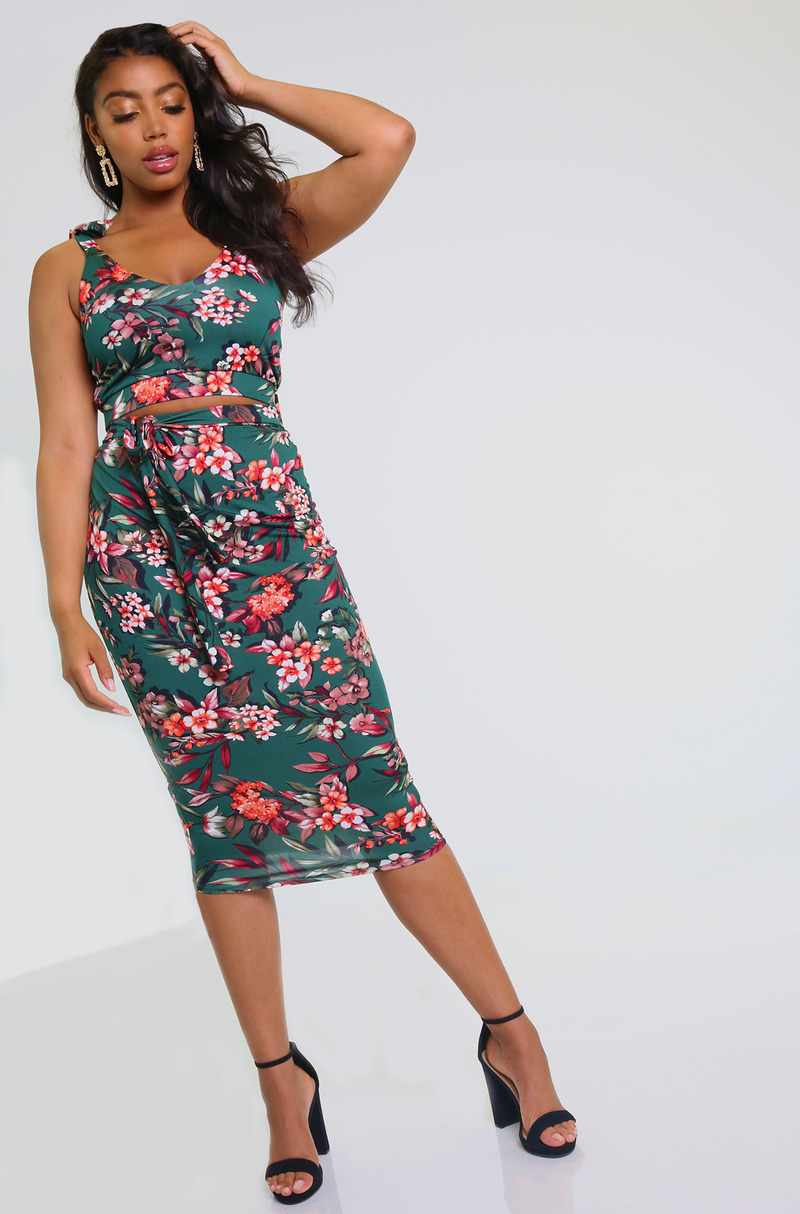 Bodycon Floral Crop Top & Midi Skirt Set Plus Sizes