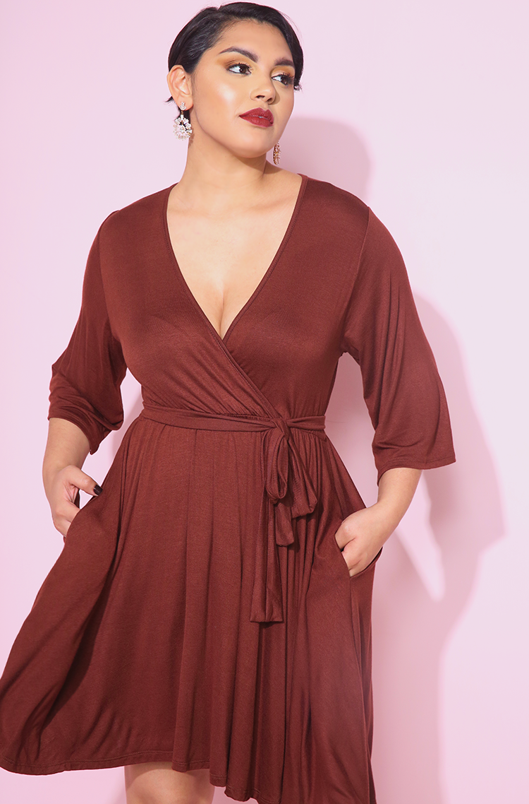 Brown Kimono Sleeves Skater Mini Dress With Pockets plus sizes