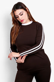 Brown Striped Crew Neck Long Sleeve Top & High waisted Legging Set Plus Sizes