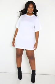 White Oversized T-Shirt Dress Plus Sizes