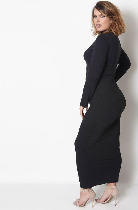 Black Long Sleeve Turtleneck Bodycon Maxi Dress Plus Sizes