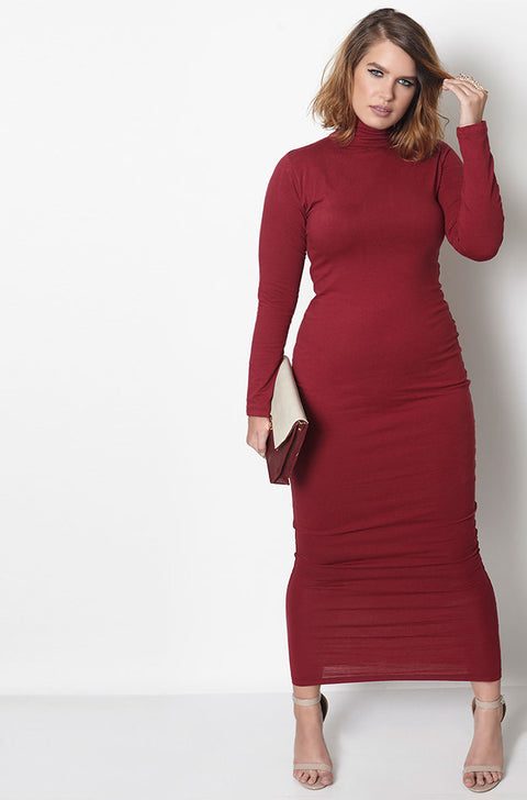 Burgundy Long Sleeve Turtleneck Bodycon Maxi Dress Plus Sizes