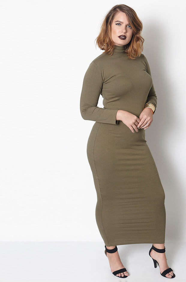 Olive Long Sleeve Turtleneck Bodycon Maxi Dress Plus Sizes