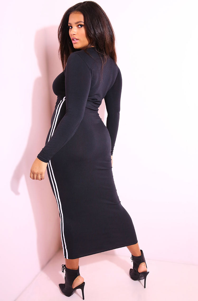 Black 2 Striped Maxi Dress plus sizes