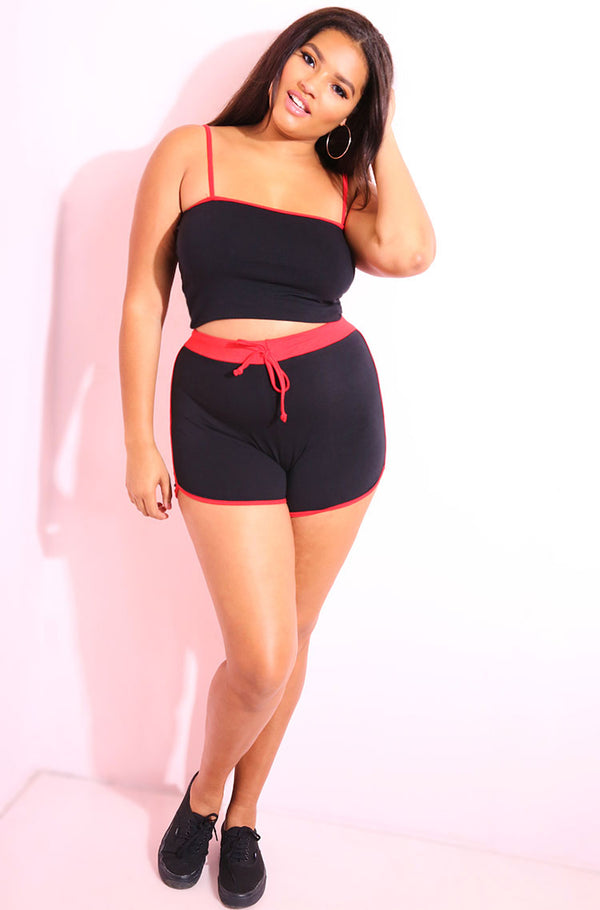 Black Shorts Set plus sizes
