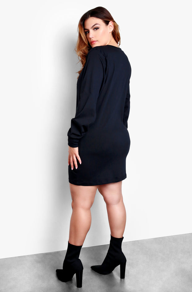 Black Plus Size Longline T-Shirt Dress