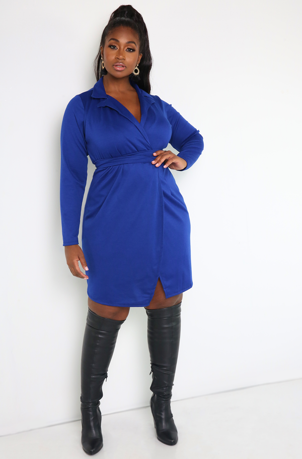 Royal Blue Collared Mini Dress Plus Sizes