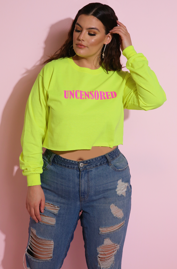 Uncensored Neon Yellow Long Sleeve Crop Top Plus Sizes