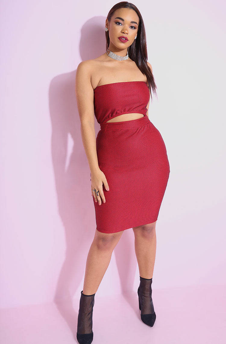 Red Cut-Out Bodycon Mini Dress plus sizes