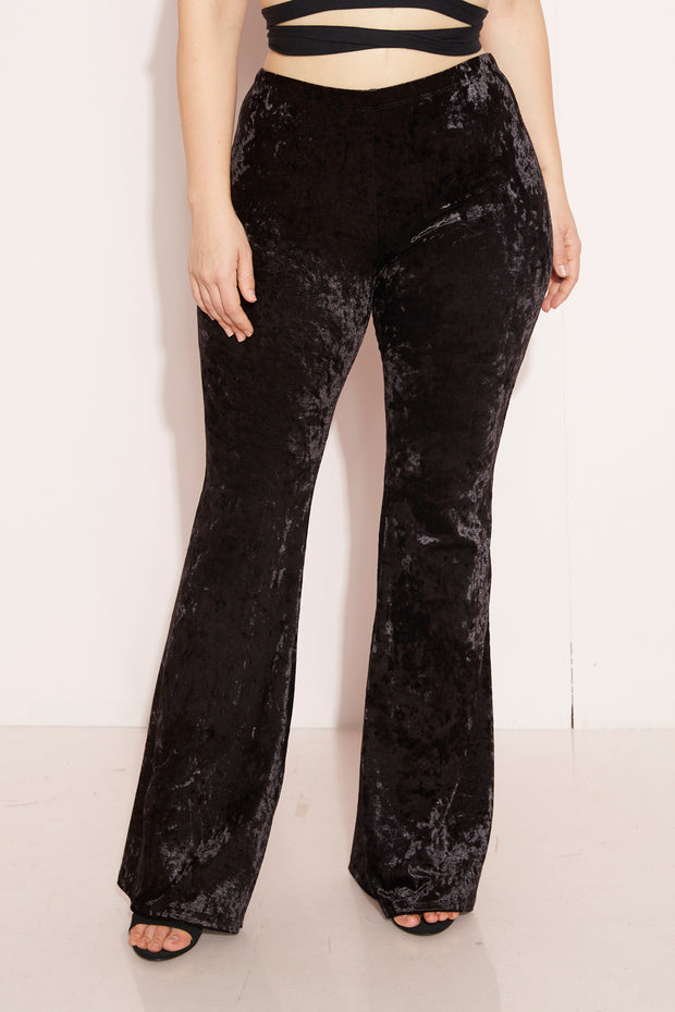 Black Velvet Flare Pants Plus Sizes