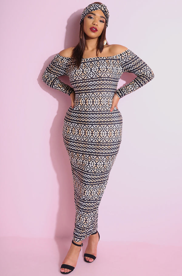 "Rebdolls ""Under Siege"" Over The Shoulder Bodycon Maxi Dress"