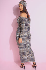Brown Aztec Print Over The Shoulder Bodycon Maxi Dress with matching turban plus sizes