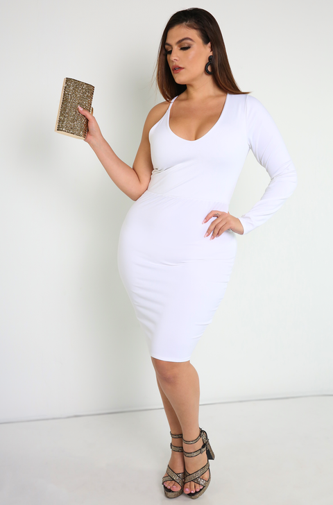 "Rebdolls ""Undercover"" One Sleeve Bodycon Mini Dress- FINAL SALE"