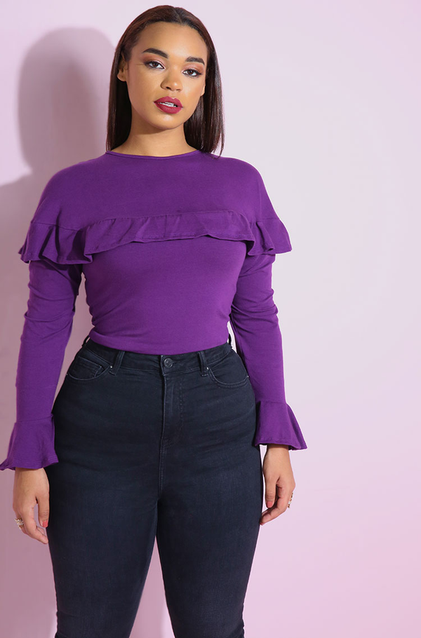 Purple Ruffled Crop Top plus sizes