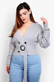 Gray Tie Front V-Neck Long Sleeve Top