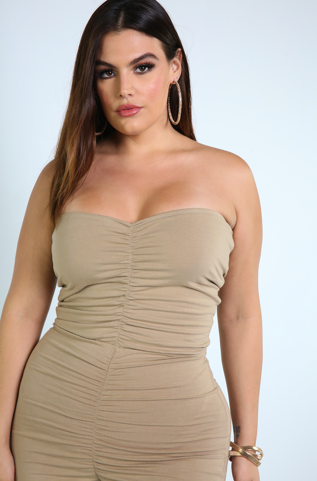 Nude Ruched Jumpsuit Plus Sizes