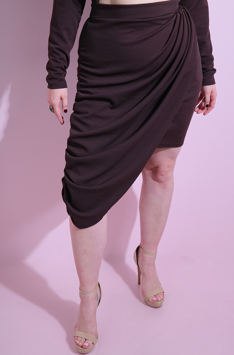 Brown Draped Cut-Out Bodycon Mini Dress plus sizes
