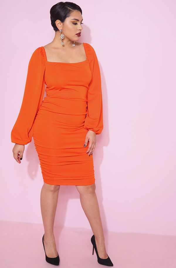 Orange Squared Neckline Bodycon Ruched Mini Dress Plus sizes