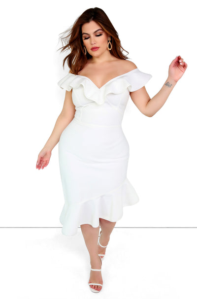 White Ruffle Bandage Mini Dress Plus Sizes